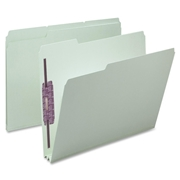 Smead 14934 Gray/Green Pressboard Fastener File Folders with SafeSHIELD Fasteners