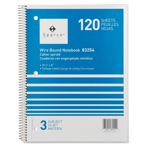 Sparco Products Sparco 3-Subject Quality Wirebound Notebook