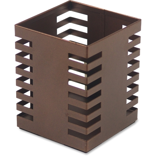 Lorell Stamped Metal Square Pencil Cup