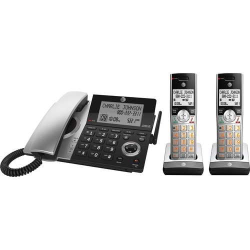 AT&T Corp AT&T CL84207 DECT 6.0 Corded/Cordless Phone - Silver, Black