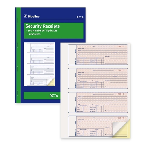 Dominion Blueline, Inc Blueline Security Receipt Forms Book