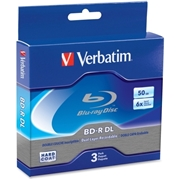 Verbatim America, LLC Verbatim BD-R DL 50GB 6X with Branded Surface - 3pk Jewel Case Box