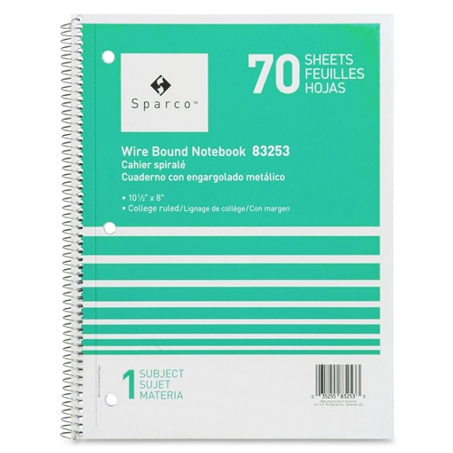 Sparco Products Sparco Quality Wirebound 1-Subject Notebook