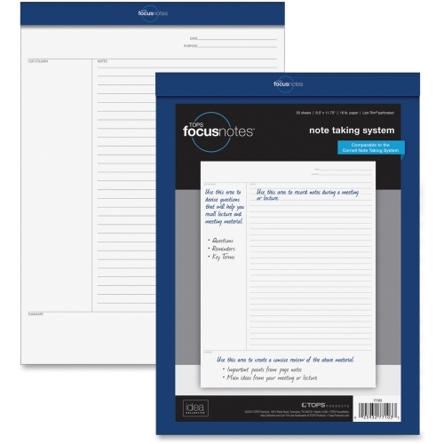 """TOPS Products TOPS FocusNotes Legal Pad, 8.5"""" x 11.75"""", White, 50 SH"""