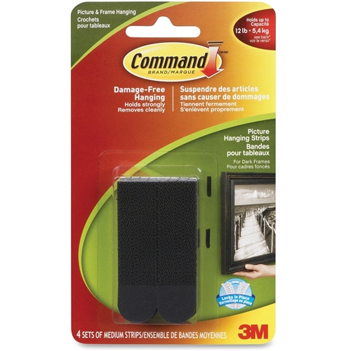 Command Medium Picture Hanging Strips - Black, 17201BLK-C