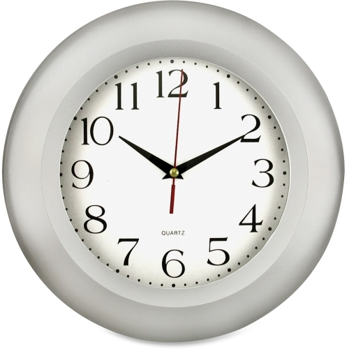 "Artistic Round Frame Wall Clock, 11"", Silver"