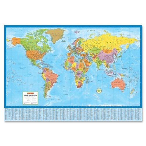 Canadian Cartographics Corporation CCC Laminated Bilingual World Wall Map