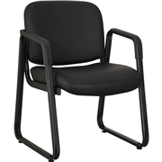 Lorell Black Leather Guest Chair