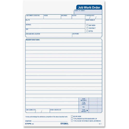 TOPS Products TOPS Triplicate Job Work Order Form
