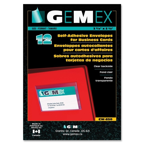 Gemex Vinyl Self-Adhesive Back Corner Envelopes