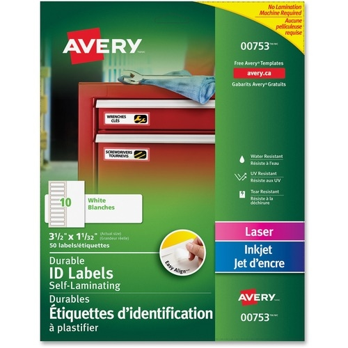 """Avery® Easy Align(R) Self-Laminating ID Labels, 3-1/2"""" x 1-1/32"""", Pack of 50 (00753)"""