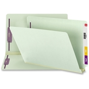 Smead Manufacturing Company Smead 37715 Gray/Green End Tab Pressboard Fastener File Folders with SafeSHIELD Fasteners