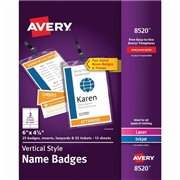Avery® Vertical Name Badges with Durable Plastic Holders and Lanyards