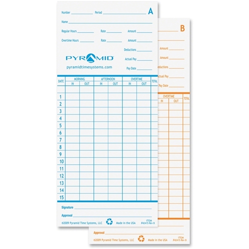 Pyramid Time Systems Time Cards For Models 2600 & 2650