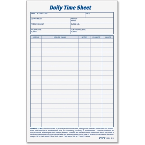 TOPS Products TOPS Daily Time Sheet Form