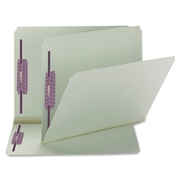 Smead 14910 Gray/Green Pressboard Fastener File Folders with SafeSHIELD Fasteners