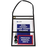 C-Line Products, Inc C-Line Stitched Dual Pocket Shop Ticket Holder with Hanging Strap
