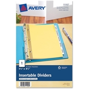 "Avery Mini WorkSaver Insertable Tab Dividers 11102, 5-1/2"" x 8-1/2"", 5-Tab Set"