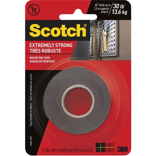3M Scotch Extreme Mounting Tape, 1 in X 60 in, Black
