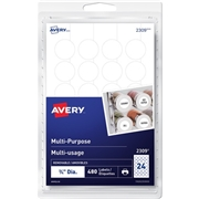 "Avery® Removable 3/4"" Round White Labels"