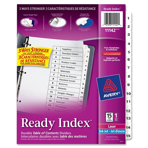 Avery Classic Ready Index Table of Contents Divider