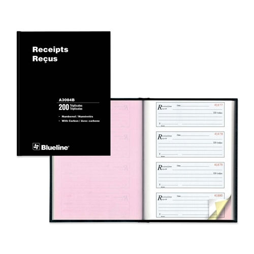 Blueline Perfect Binding Bilingual Receipt Book