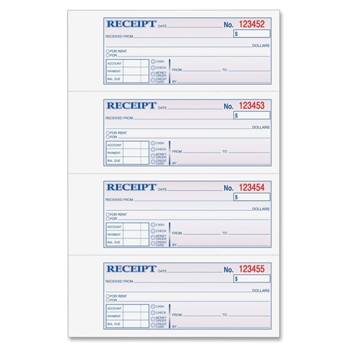 TOPS Products Adams TC1182 Tape Bound Money/Rent Receipt Book