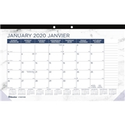 Dominion Blueline Blueline Monthly Desk Pad Marble 2020 - Bilingual