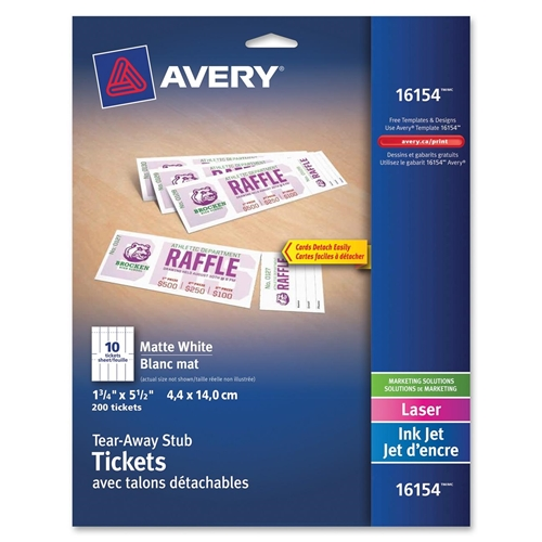 """Avery Tickets With Tear-Away Stubs 16154, Matte White, 1-3/4"""" x 5-1/2"""", Pack of 200"""