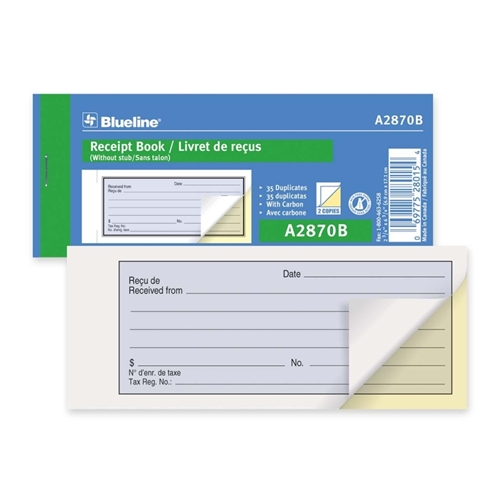 Dominion Blueline, Inc Blueline Bilingual Receipt Book