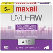 Maxell DVD Rewritable Media - DVD+RW - 4x - 4.70 GB - 5 Pack