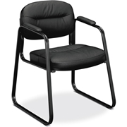 The HON Company Basyx by HON SofThread Leather Sled Base Guest Chair