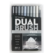 Tombow Dual Brush Art Pen 10-piece Set - Grayscale Colours