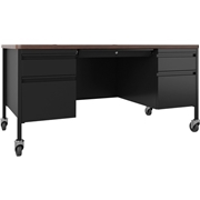 Lorell Fortress Series Walnut Top Teacher's Desk