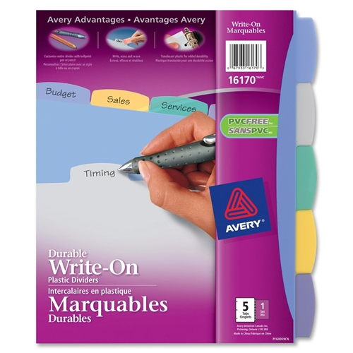Avery Translucent Durable Write-on Divider