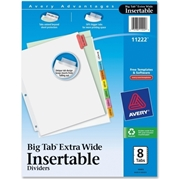 Avery WorkSaver Big Tab Insertable Dividers 11222, 8-Tab Set