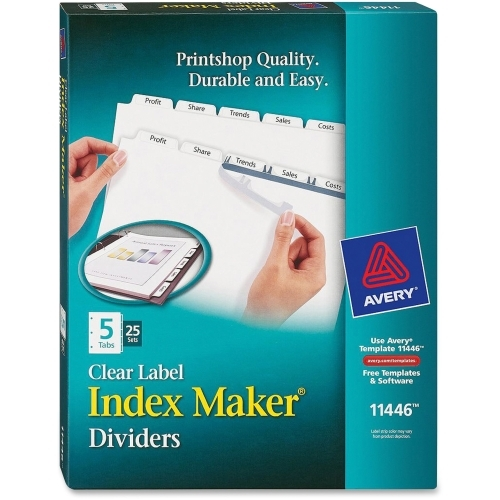 Avery Index Maker Clear Label Dividers with White Tabs