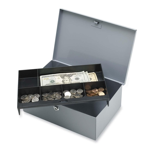 Sparco Products Sparco All-Steel 6 Compartment Tray Cash Box